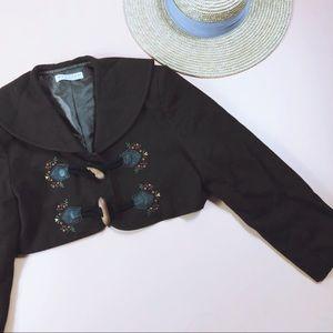 Vtg 90s Cropped Whimsical Floral Coat Jacket SM